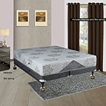 Spinal Solution, 10-inch Medium Plush Innerspring Tigh Top Mattress and 4-inch Split Box Spring/Foundation Set, No Assembly Required Queen Size