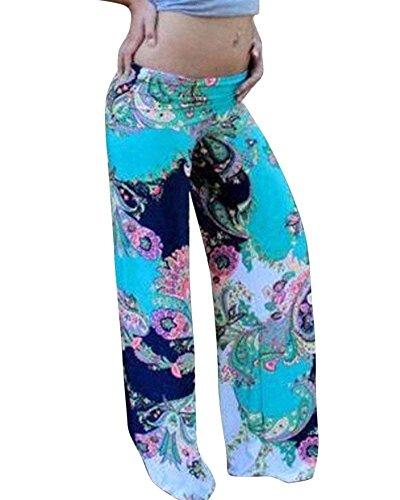 Stile Nahen Stampate Ragazza Trousers Tempo Estivi Donna Larghi Baggy Floreale Eleganti Taille Pantaloni Blu Elastica Modern Lunga Boho Di Dritti Basic Libero RfvHYqxw