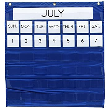 Amazon com pacon monthly calendar pocket chart 25 x 28 blue