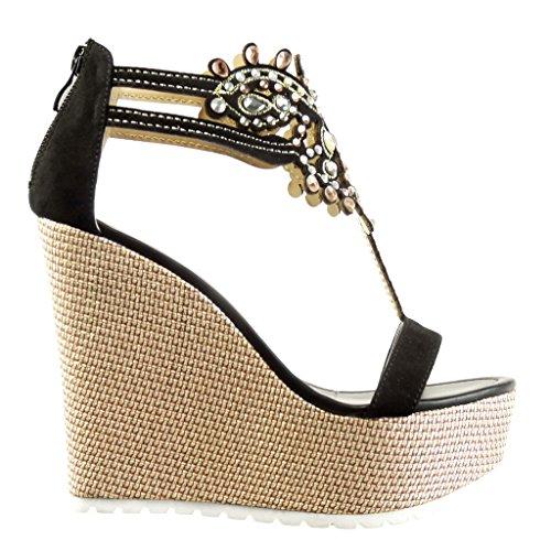 cm Sandale Brodé Chaussure Plateforme Femme 13 Plateforme Mode Angkorly Noir Salomés Talon Bijoux Compensé 6Z0EnqC7