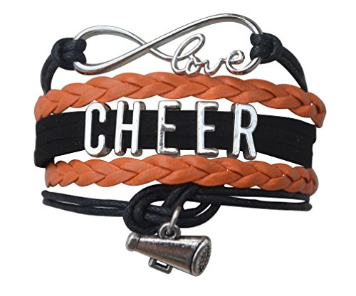 Infinity Collection Girls Cheerleading Bracelet, Cheer Gifts- Cheer Jewelry- Cheer Bracelet- Adjustable Cheer Charm Bracelet- Gift for Cheerleaders, Cheer Teams & Cheerleading -