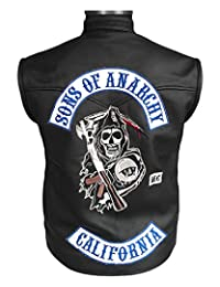 The American Fashion Sons of Anarchy Motorcycle Leather Vest with Patches