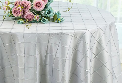 Wedding Linens Inc. 90 Inch Round Pintuck Seamless Taffeta Tablecloths Table Cover Linens for Wedding Party Banquet Events - Platinum