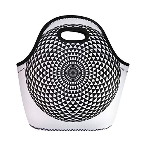 Semtomn Neoprene Lunch Tote Bag the Circular Pattern Geometric Mandala Mathematical Abstraction Black Reusable Cooler Bags Insulated Thermal Picnic Handbag for -