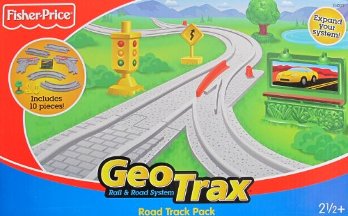 GeoTrax Rail & Road ROAD TRACK PACK w 10 Pieces (2005 Fisher-Price/Mattel)
