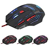 Optical Wired Professional Gaming Mouse, 5500DPI Programmable Tuning 7 Color Breathing LED Light], 7 Buttons Breathing Mice for Notebook, PC, Laptop, Computer, MacBook (Black)
