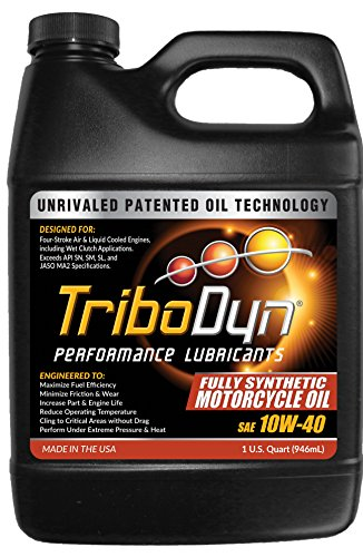 TriboDyn 10W40 Full Synthetic Motorcycle Oil - 1 US Quart - Lowers Operating Temps - Improves Mileage - Unmatched Protection
