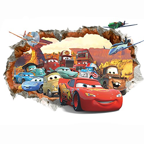 Cars 3D Wall Decal Children Themed Art Wall Sticker Home Decor Art Kids Boys (Cars Bedroom)