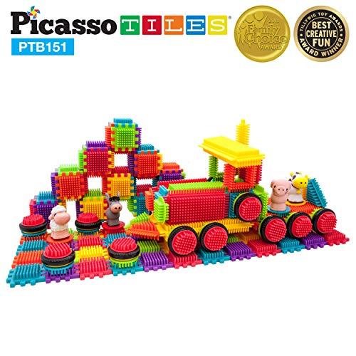 (PicassoTiles PTB151 151pcs Bristle Lock Block STEM Building Tiles Truck Theme Set Learning Playset STEM Toy Set Educational Kit Child Brain Development Preschool Kindergarten Toy w/ Animal Figures)