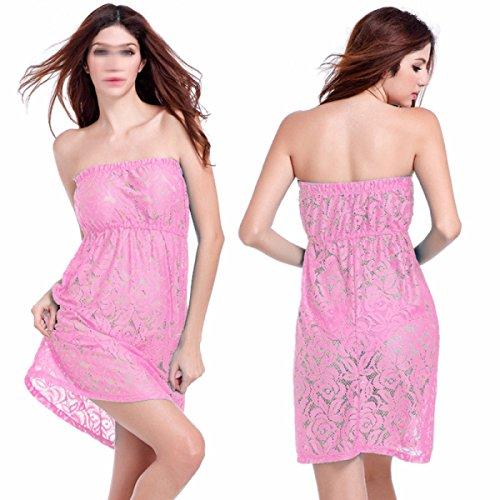 Faldas De Playa De Arena Pecho De La Falda Atractiva Envuelta Sujetador De Encaje Pink