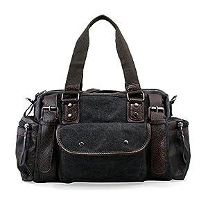 Oct17 Large Sports Duffle Bag Men Canvas Travel Shoulder Bag, Vintage Tote Portable Luggage Bag, Gym Sports Hiking Messenger Crossbody Bag