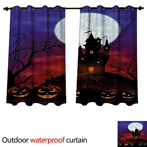 WilliamsDecor Halloween Home Patio Outdoor Curtain Gothic Haunted House Castle Hill Valley Night Sky October Festival Theme Print W72 x L63(183cm x 160cm) -