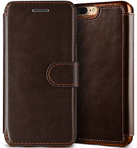 Lumion iPhone 8 Plus Case, Classy Slim Fit Premium PU Leather ID Card Slot Holder Wallet Drop Protection Cover [Slim Folio] for Apple iPhone 7 Plus/iPhone 8 Plus by (Dandy Wallet - Chocolate Brown)