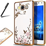 Galaxy S8 Glitter Case,Galaxy S8 Soft Cover,Galaxy S8 2017 Clear Case,SKYMARS Electroplating Butterfly Flower Bling Glitter Diamond Clear TPU Back Transparent Soft Flexible Silicone Bumper Protective Case For Samsung Galaxy S8 2017 Gold Bumper Pink Flower