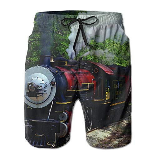Train Vintage Steam Locomotive Trees Men's Board Shorts Summer Casual Swimming Trunks with Pockets (Kaufen Ray)