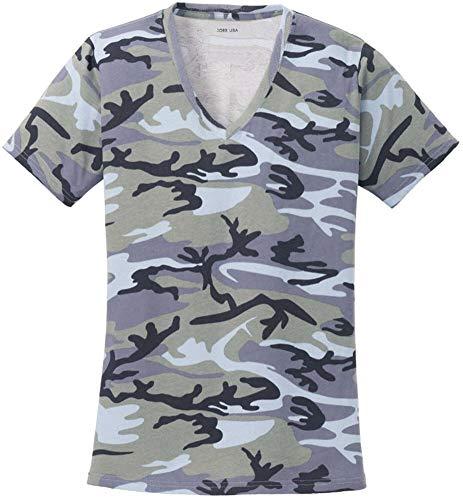 Joe's USA Ladies Camo V-Neck Tees V-Neck T-Shirt-Woodland Blue Camo-4XL