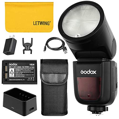 Godox V1-S 76Ws 2.4G TTL On-Camera Round Camera Flash Speedlight Compatible for Sony Camera,1/8000 HSS, 480 Full Power Shots, 1.5 sec. Recycle Time,Rechargeable 2600mAh Li-ion Battery