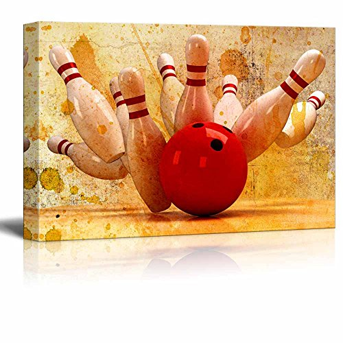 wall26 Canvas Wall Art - Bowling Hitting a Split - Giclee Print Gallery Wrap Modern Home Decor Ready to Hang - 16'' x 24'' by wall26