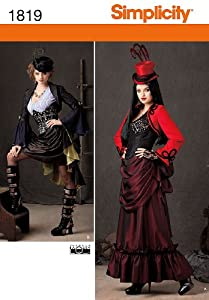 Steampunk Sewing Patterns- Dresses, Coats, Plus Sizes, Men's Patterns Simplicity 1819 Misses Steampunk Costume Sewing Pattern Size R5 (14-16-18-20-22) $9.73 AT vintagedancer.com