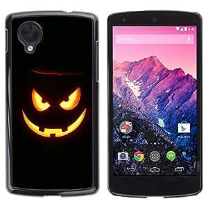 LG Nexus 5 D820 D821 - Metal de aluminio y de plástico duro Caja del teléfono - Negro - Halloween Evil Pumpkin