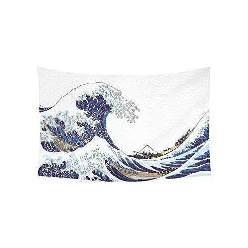 InterestPrint Japanese Wall Art Home Decor, The Great Wave Off Kanagawa Pattern Tapestry Wall Hanging Art Sets 60 X 40 Inches
