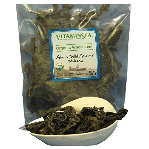 Organic Wakame Whole Leaf Alaria - Seaweed 8 oz bag - USDA Certified and Kosher Hand Harvested from the Atlantic Ocean Maine Coast Vegan Raw and Wild Sea Vegetables VitaminSea (Wakame WL, 8 oz)