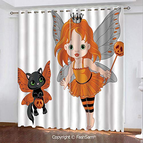 Blackout Curtains Set Room Darkening Drapes Halloween Baby Fairy and Her Cat in Costumes Butterflies Girls Kids Room Decor Decorative Darkening Panel for Bedroom(84