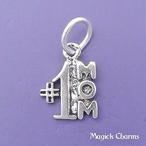 - 925 Sterling Silver #1 MOM Charm Miniature Small Jewelry Making Supply, Pendant, Charms, Bracelet, DIY Crafting by Wholesale Charms
