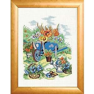 """Bonito gran imagen """"PARADIES - jardín"""" - de punto de cruz de madera - Marco y paspartú - imagen 37 cm x 47 cm - de cruz para mantel - incluye Material - hilo de 100% algodón mercerizado - de la KAMACA-SHOP"""