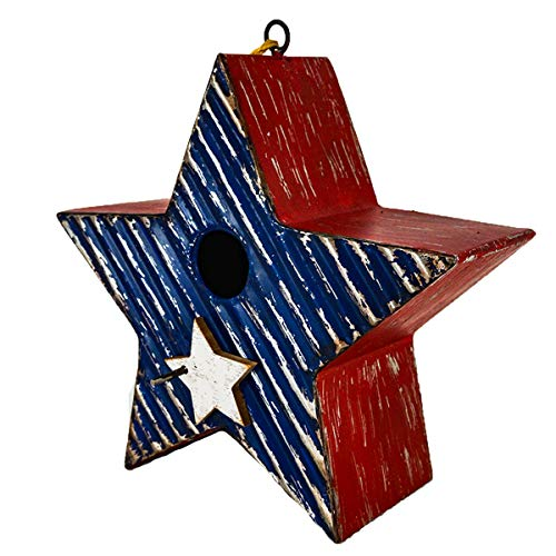 Stars and Stripes Themed Americana Birdhouse for Songbirds - Red White and Blue 9 inch Star Shaped home for your Backyard Buddies With Built in Hanging System. For Ornithologists and Gardeners Alike