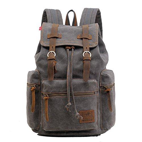 Santimon - Herren Vintage-Rucksack Canvas Rucksack Schultasche Schultasche Tasche Wandern Daypacks Rucksäcke Grey