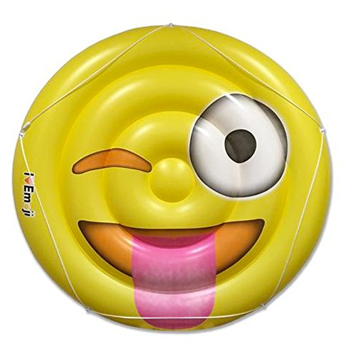 I EM JI - Emoji Pool Floats for Adults and Children - Giant Pool Floatie - Tongue Out Emoji Pool Toy]()