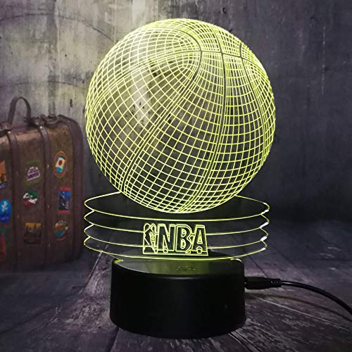 (New 3D NBA Basketball Sport Home Decor LED Illusion Touch 7 Color Change Lamp Home Night Light Best Child Boy Man Christmas Gift (NBA Basketball))