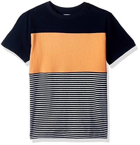 Gymboree Boys' Little Short Sleeve Colorblock Stripe TEE, Peach, XS (Peach Shirt For Boys)