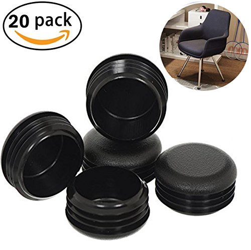 20 Pack 1 Inch Round Plastic Plug, Pipe Tubing End Cap, Durable Chair Glide by Originalidad