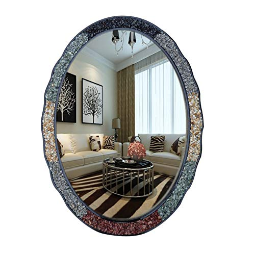 Large Oval Bathroom Wall Mirror, Ornate Retro Home Decoration Mirror, Vanity Makeup -