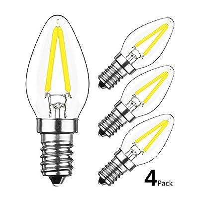 HzSane 2W LED Filament C7 Night Light Bulb, 6000K Daylight White 200LM, E12 Candelabra Base Lamp C7 Mini Torpedo Shape, 15W Incandescent Replacement, 360¡ã Beam Angle, Non-dimmable, 4 Pack