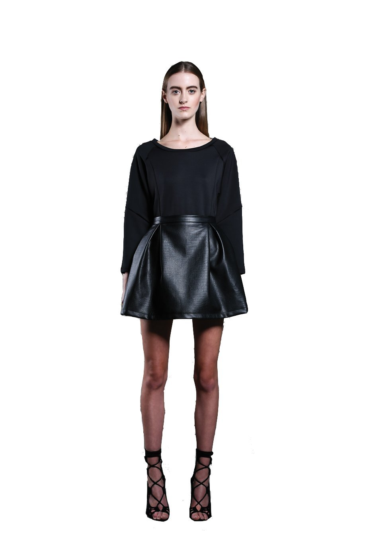 Ringuet - Pleated Faux Leather Skirt (Black) (2)
