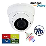 Evertech 4in1 High Definition HD 1080P Night Vision Manual Zoom Outdoor Indoor Security Camera Dome, Compatible 1080P AHD TVI CVI Traditional Analog DVRs (Default 1080P AHD Mode)