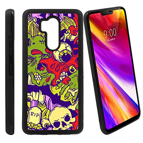 [Halloween Pattern with Horror Skull and Eyeball Elements] Compatible with LG G7 ThinQ/LG G7 One / G7 Fit / G7+ / G710 / LG X5, Non-Slip Soft Rubber Side & Hard Back Case Cover Shell Skin ()