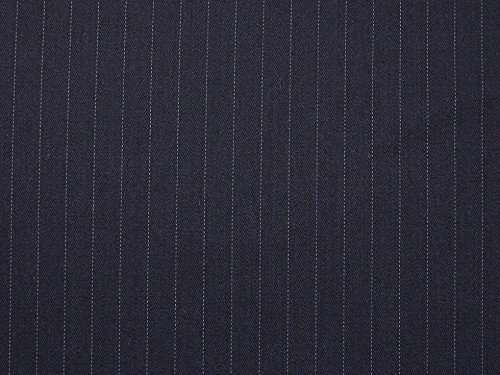 Minerva Crafts English Pure Wool Worsted Pinstripe Suiting Dress Fabric Navy Blue - per metre