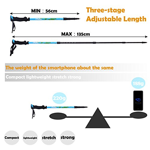 Ohuhu 22 Inch To 56 Inch Retractable Anti Shock Trekking Poles / Hiking Poles / Walking Sticks, 2 Pack (22 56'')