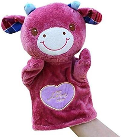 HuaQingPiJu-JP かわいい子供の手袋人形ソフトぬいぐるみのおもちゃ漫画動物の人形のおもちゃ(牛)
