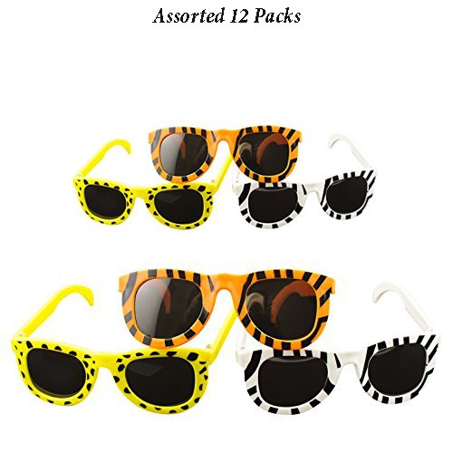 Adorox Animal Print Child Sunglasses Assortment Colorful Fashion Party Favors Birthday (Assorted (12 Pack))