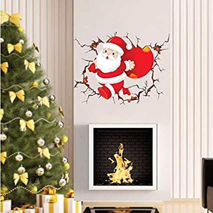 Mural Zozoso Christmas Santa Claus Wall Cartoon Wall
