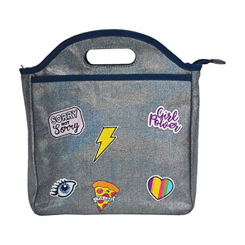 iscream Metallic Patched Denim Easy Carry Wipe Clean Lined Insulated Lunch Tote ()