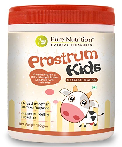 Pure Nutrition Prostrum Kids Bovine Colostrum 200 Gram (7oz) Chocolate Flavour - Premium Protein and Ultra Strength Bovine Colostrum with Probiotics