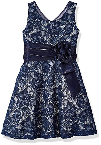 Bonnie Jean Girls' Toddler Lace Party Dress, Sequin Navy, 3T