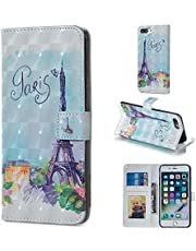 for iPhone 7 Plus/8 Plus Wallet Case and Screen Protector,QFFUN Glitter 3D Pattern Design [Tower] Magnetic Stand Leather Phone Case with Card Holder Drop Protection Etui Bumper Flip Cover