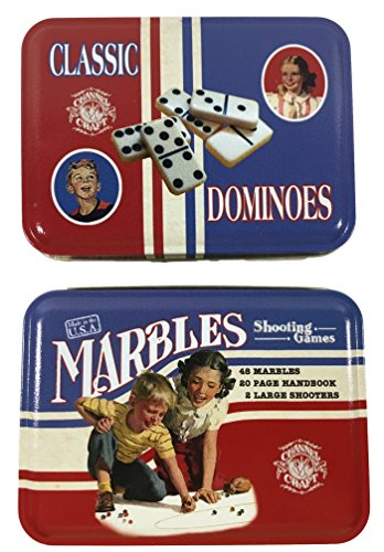 Dominoes and Marbles in Nostalgic Tins by Channel Craft - Birthday, Fathers Day, Get Well, Travel, College Student Gift
